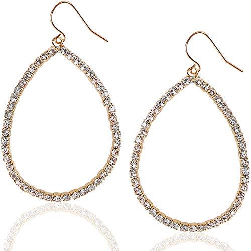 Humble Chic Hoop Dangle Earrings - Simulated Diamond Teardrop Cutout Statement Rhinestone Drops, Gold Tone Teardrop, Yellow