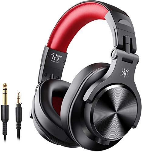 OneOdio FUSION A7 Auriculares Inalámbricos Bluetooth Auriculares de Estudio, Cascos Diadema Cerrado 90°Ajustable, con jack de 6,3 mm y 3,5 Profesional Auriculares para grabación y seguimiento DJ