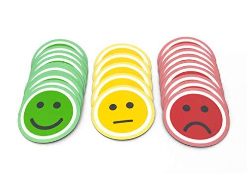 Tienda LEAN Smiley Magnet Rund. 25er Pack (10 grüne, 10 rote und 5 gelbe Magneten) (5 cm)