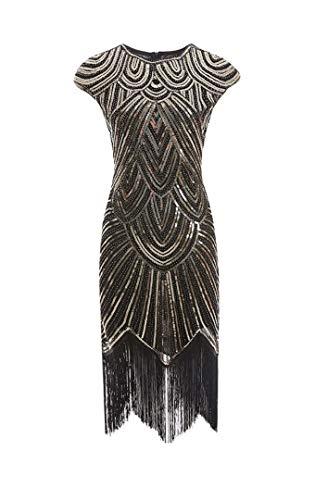 shoperama 20er Jahre Charleston Kleid Pailletten Fransen Flapper Gatsby 20's Fransenkleid Damen-Kostüm, Größe:S, Farbe:Schwarz/Gold