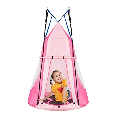 DREAMADE Nestschaukel mit Zelt, Hängezelt Höhenverstellbar Gartenschaukel, Schaukelnest Hängenest mit Tür Fenster, Tellerschaukel max.Tragfähigkeit 150kg, für Baum Garten Kinderzimmer (rosa)