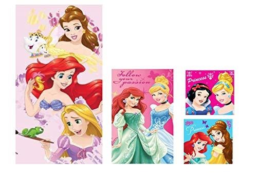 Estampado lleno de colores – mejor calidad de impresión – Grandes diseños de princesas con bonitos colores fuertes. Algodón feliz – r esponjoso – suave – tejido con excelente absorción. Incluye: 1 toalla de baño de 70 x 140 cm y 1 toalla para la cara...