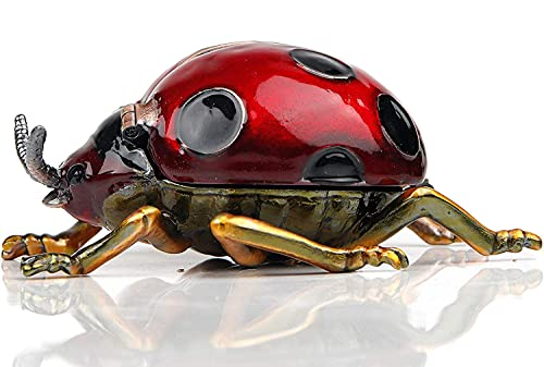Red Ladybug Figurines CollectiblesTrinket Box Hinged With Rich Enamel And Sparkling Rhinestones Jewelry Boxes Gift