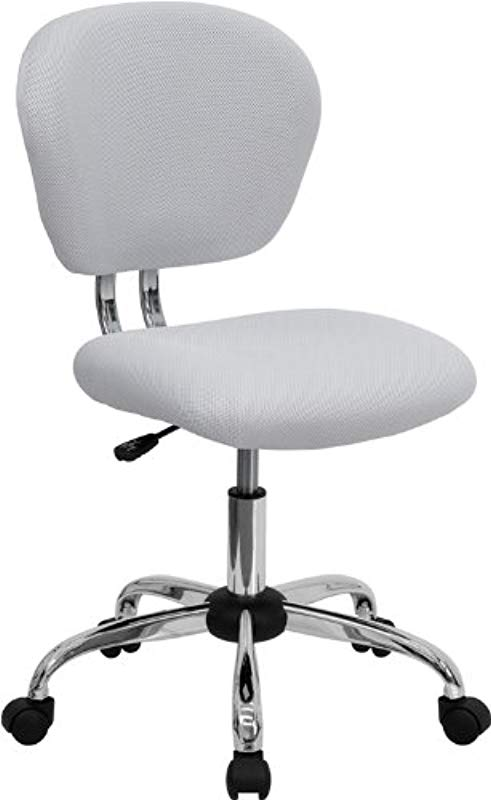 Flash Furniture Mid Back White Mesh Padded Swivel Task Office Chair With Chrome Base