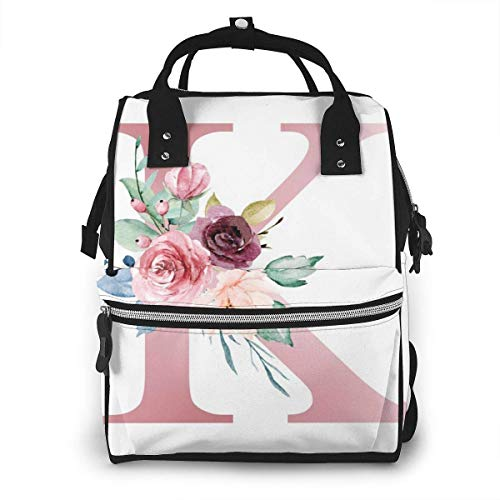 UUwant Sac à Dos à Couches pour Maman Diaper Bag,Versatile Stylish and Durable, Suitable for Mom and Dad,Letter K with Watercolor Flowers and Leaf