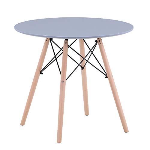 GOLDFAN Esstisch Klein Rund Grau Tisch Küchentisch Wohnzimmertisch mit Beine aus Buchenholz 80cm