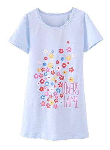 ABClothing Girls 'Flower Nighties & Short Sleeve Nachthemden Baumwolle Nachtwäsche Blau für 3-4 Jahre