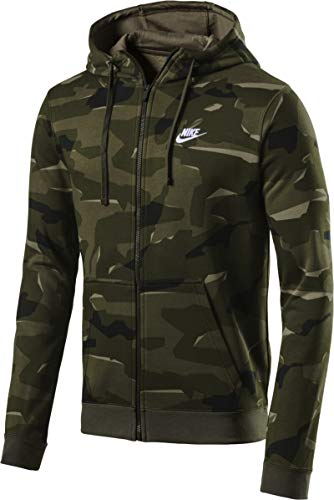 Nike Herren Sportswear Club Fleece Camo-Hoodie, Cargo Khaki/White, XS