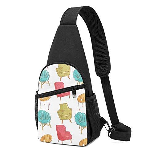 Sling Bags für Herren Crossbody Rucksack Stühle Gelb Rot Schulter Daypacks Verstellbare Running Wrinkle Resistance Fanny Chest Packs