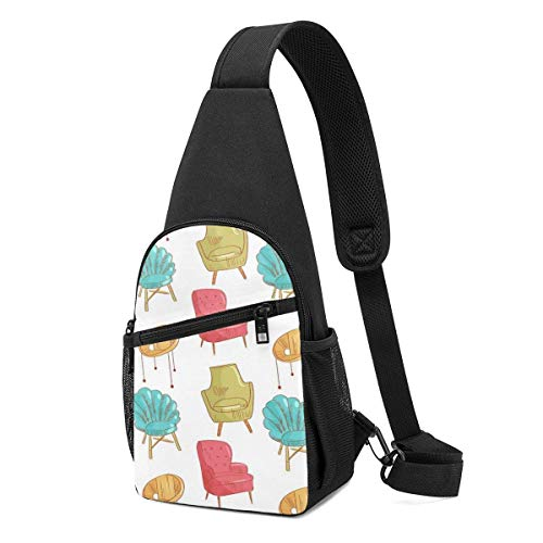 AOOEDM Schultertaschen für Männer Crossbody Rucksack Stühle Gelb Rot Schulter Daypacks Verstellbare Running Wrinkle Resistance Fanny Chest Packs