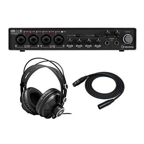 Steinberg UR44C 6x4 USB 3.0 Audio Interface with Knox Gear Headphones and XLR Cable Bundle (3 Items)