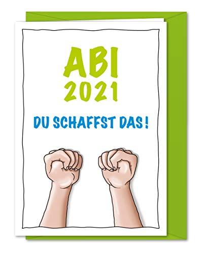 XL Karte Abi 2021 - Du schaffst das! Karte zum Glück wünschen und Daumen drücken beim Abitur, Grußkarte viel Erfolg für's Abi 2021 - inkl. Umschlag (DIN A5)