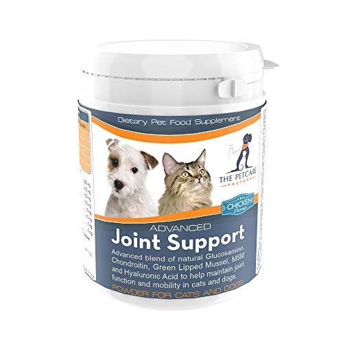 Advanced Joint Support Supplement Powder For Cats & Dogs, With Powerful Glucosamine, Chondroitin, Green Lipped Mussel, MSM, Curcumin & Hyaluronic Acid, Human Grade Ingredients, UK Manufactured