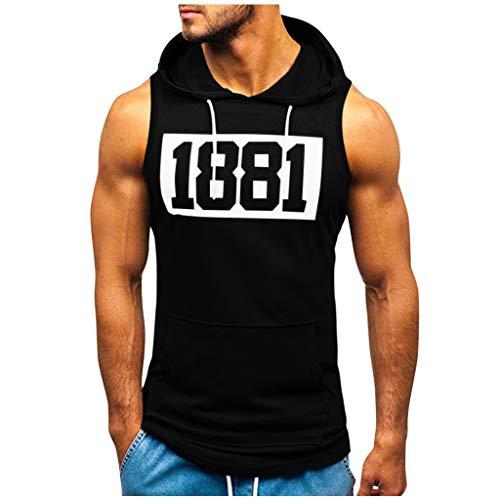 Sweat Musculation Capuche Sweat Shirt Homme Pull A Capuche sans Manche Homme Tee Shirt Capuche Homme Fitness Debardeur Capuche Homme Musculation Pullover Homme Pull Homme S-3XL Noir Vert Blanc