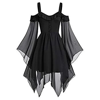 general3 Women Plus Size Halloween Gothic Witch Costume Tops Lace Sequined Butterfly Sleeve Cross Bandage High Waist Hem Blouse  Black XXXXXL