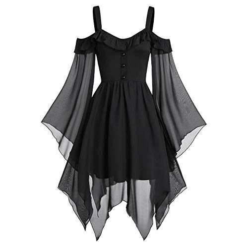 general3 Women Plus Size Halloween Gothic Witch Costume Tops Lace Sequined Butterfly Sleeve Cross Bandage High Waist Hem Blouse (Black, XXXXXL)