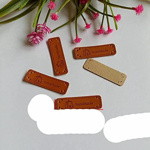 20 etiquetas de cuero hechas a mano en inglés para prendas de vestir, para vaqueros, bolsos, zapatos, accesorios de costura, NO6