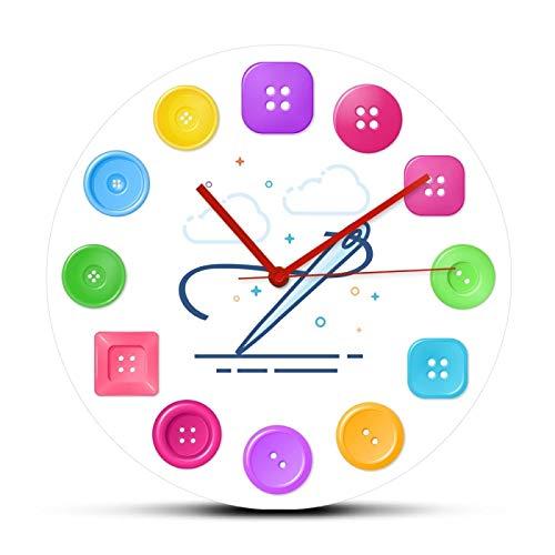 xinxin Reloj de Pared Conjunto de Botones de Costura de Colores Reloj Colgante de Pared Impreso Artículo de Costura Ropa de Moda Diseño de Arte y artesanía Relojes de acrílico Reloj