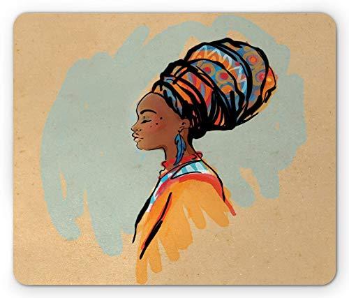 Afrikanisches Mauspad, Aquarellprofilporträt der einheimischen Frau mit Frisur und Ohrringe, Rechteck rutschfestes Gummi-Mauspad, Pastellbraun