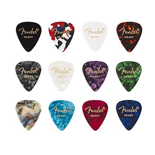 Fender '351 Medley' Plettri in celluloide per Chitarra e Basso - Colori vari - Heavy - Set di 12