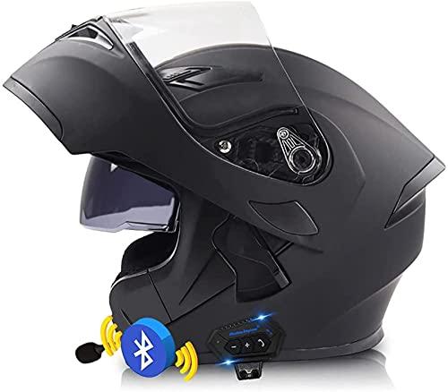 Casco Bluetooth Motocicleta Casco Modular Motocicleta Tipo Abatible Visera Solar Doble Casco Anticolisión Transpirable Certificado ECE/Dot Altavoz Incorporado Auricular Micrófono C,XXL=(63-64)