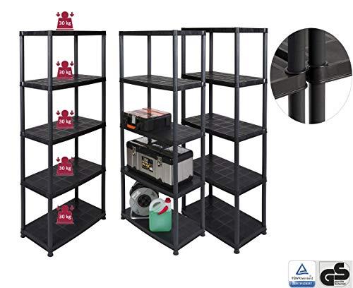 Kreher Vorteils-Pack: 3 Stück Kunststoff Steckregal mit 5 soliden Böden, belastbar mit bis zu 30 kg/Boden. Maße BxTxH in cm pro Regal: 71 x 38 x 171 cm, TÜV/GS geprüft.