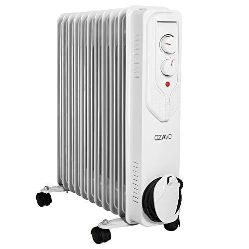 OZAVO Radiateur à Bain d'huile Électrique avec 11 Colonnes Appareils de Chauffage Mobile 2500W Thermostat 3 Réglages de Puissance Silencieuse - Blanc