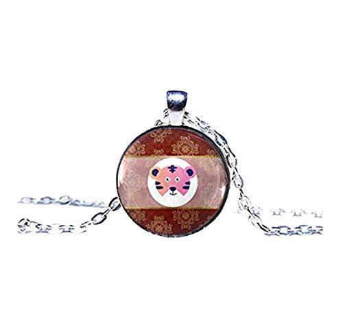 memory Collar con Colgante de Globo de Cristal con símbolo del año del Tigre Chino y Signos de Lunar Chinos