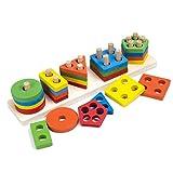 Tablero clasificador de forma de madera, tablero geométrico del bloque del edificio del juguete forma del reconocimiento del color de la pila de la clasificación del juguete para los niños pequeños