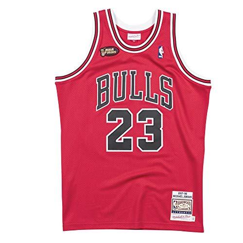 Mitchell & Ness Men's Chicago Bulls Authentic Michael Jordan Red 1997/98 Finals Hardwood Classics Road Jersey (XX-Large)