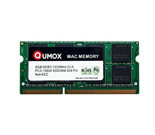 QUMOX PC3-10600 8GB 204-Pin 1333MHz DDR3 SODIMM Laptop Mac Memoria per Apple