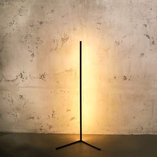 Minimal Lamp – Lámpara de pie LED regulable – Lámpara de esquina de diseño en blanco y negro – Elegante columna de luz con luz cálida para cada esquina (negro)