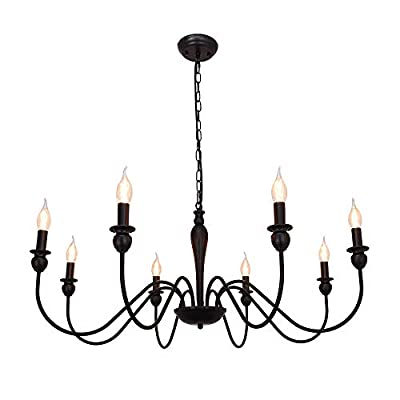 8 Lights Black Chandeliers Farmhouse Industrial Classic Candle Ceiling Rustic Pendant Lights Fixture for Dining Living Room Bedroom Kitchen Island Hanging Lighting