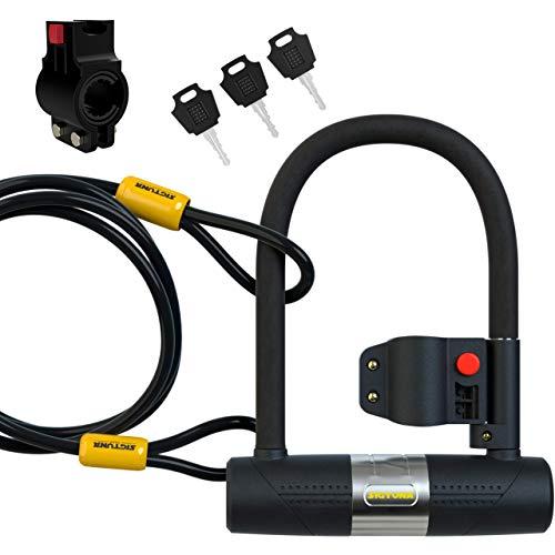 SIGTUNA Candado en U - Candado Bicicleta Alta Seguridad de 16mm con Abrazadera de Soporte + 1200mm de Cable de Acero trenzado flexible.