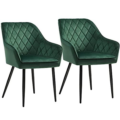 SONGMICS Esszimmerstühle, Sessel, 2er Set, Polsterstühle mit Armlehnen, Sitzbreite 49 cm,...