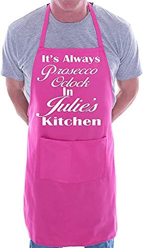 XIEYI Delantal Personalizado Reloj Cocina Juli Rosa-Talla única_Pink
