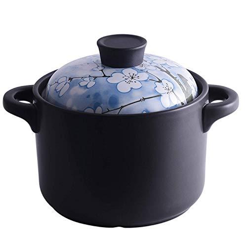 SHBV Cazuela Estofado Resistencia a Altas temperaturas con Tapa Olla de Sopa de cerámica binaural Olla de Salud de Estilo japonés