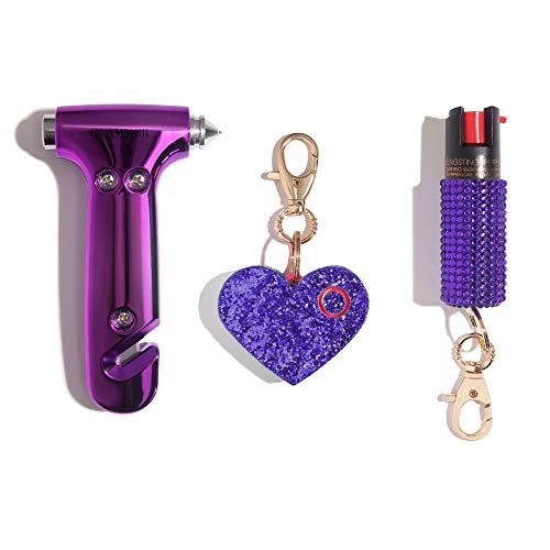 BlingSting Purple Safety Kit Includes Emergency Automotive Escape Hammer Tool - Seat Belt Cutter and Window Breaker, Personal Security Alarm, Self-Defense Pepper Spray Keychain for Women