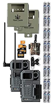 SPYPOINT Link-Micro-LTE Cellular Trail Camera Twin Pack with Batteries Two Micro SD Cards Card Reader Spudz and Two Steel Cases  AT&T  USA Nationwide