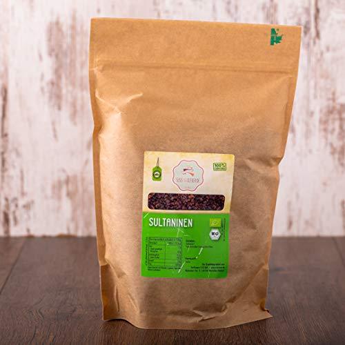 süssundclever.de® | Bio Rosinen | Sultaninen | 1 kg | hochwertiges Naturprodukt | plastikfrei und ökologisch-nachhaltig abgepackt