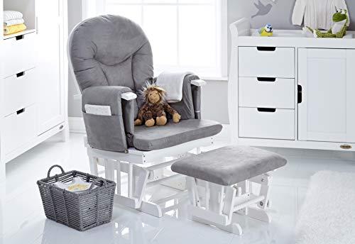 Obaby 7 Position Reclining Glider Nursing Chair & Stool - White