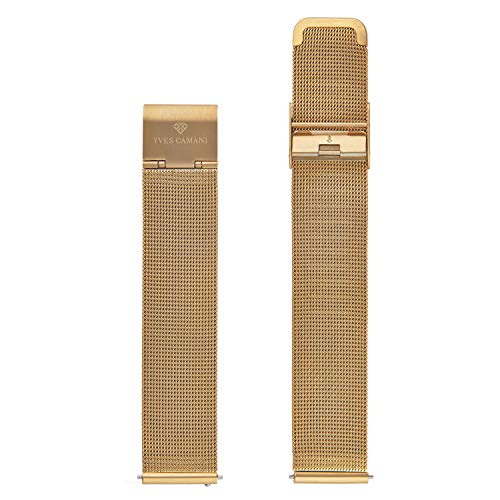 YVES CAMANI Uhrenarmband Milanaise Edelstahl-Armband 13mm 18mm 20mm mit Schnellwechsel Federsteg (18