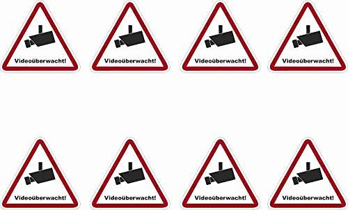 Kleberio® 8 Selbstklebender PVC Aufkleber Warnschild 52 x 47 mm !! KLEIN !! - Videoüberwachung - Piktogramm Hinweis Aufkleber