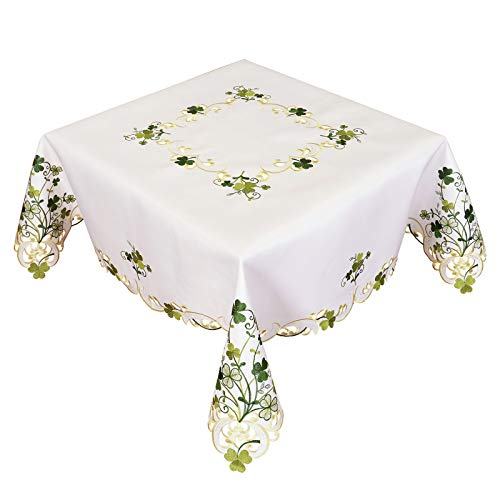 Simhomsen Embroidered Irish Clover St. Patrick's Day Tablecloth, Spring Shamrock Decorations (Square 52 inches)