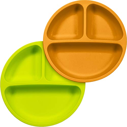 Sperric Silicone Divided Plates Unbreakable Non-Slip - Silicone Baby and Toddler Plates 2 Pack. Dishwasher/Microwave Safe Non Toxic BPA Free(Green & Orange)