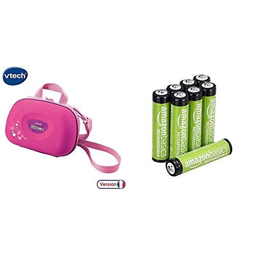 VTech 80-201853 - Kidizoom Tragetasche, rosa & AmazonBasics AAA-Batterien, wiederaufladbar, vorgeladen, 8 Stück (Aussehen kann variieren)