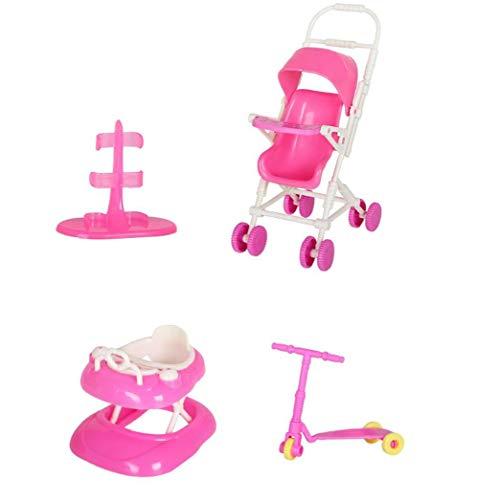Maidi La muñeca de Juguete Juego de casa de muñecas Accesorios con el Cochecito de bebé Walker Vespa muñeca Soporte para la muñeca Toy Dolls