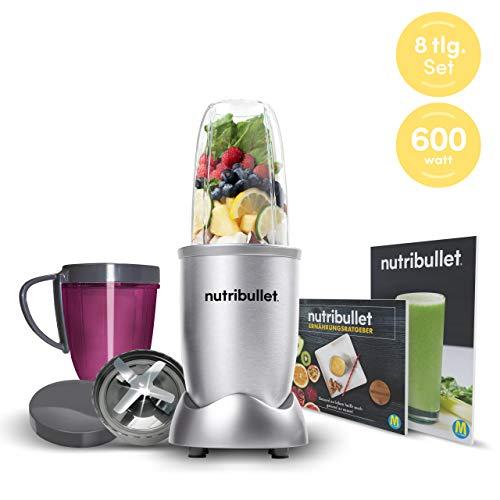NutriBullet 600W silber – Mixer mit Extraktor-Klinge macht Superfood aus einfachen Lebensmitteln – Power Standmixer für den täglichen Vitaminkick – 8tlg.