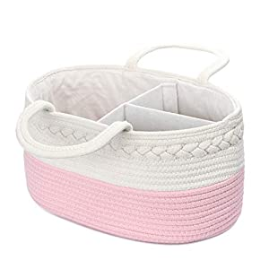 Genenic Baby Diaper Caddy Organizer – Newborn Portable Stylish Cotton Rope Nursery Storage Basket with Removable Insert for Changing Table & Car, Best Baby Shower Gifts (White&Pink)