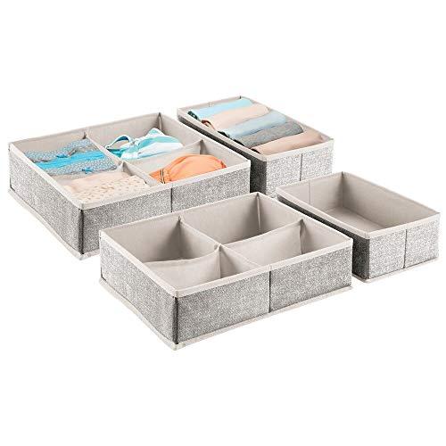 mDesign - Lade-organizers in 2-delige set - voor lades van kaptafels en bergkasten - voor kinder-/babykamers - met 4 compartimenten en 1 compartiment/zacht/stof - zwart/crème - per 2 stuks verpakt